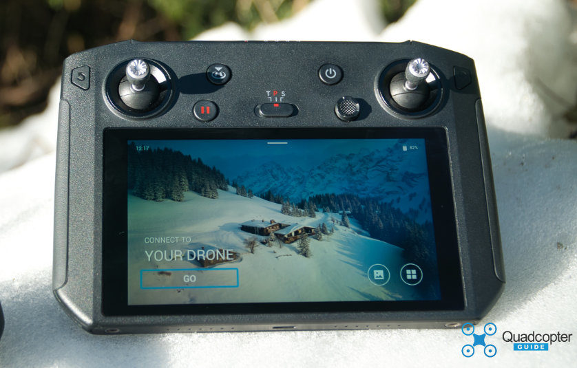 The DJI Smart Controller sitting in Snow. The controller is rated from -20 C to 40 C (-4 F to 104F)